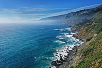 Shoreline along the coast of California near Big Sur