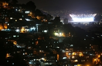 Shot of the Prazeres favela in Rio de Janeiro during the Olympic Games opening