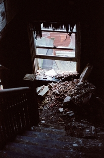 Shot on film a stairwell in an abandoned tuberculosis hospital