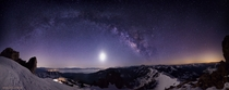 -shot pano of the Moon and the Milky Way over Lake Tahoe Light pollution from Placerville I _think_ way off to the right