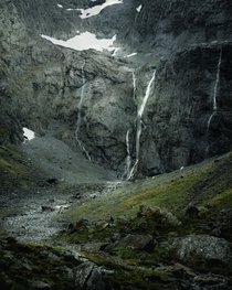 Shot this waterfall cascading down a mountain on my way to Milford Sound New Zealand  IG mvttmic