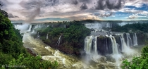 -shot wide angle panorama of the Iguazu Falls one of the worlds largest waterfalls on the ArgentinianBrazilian border photo by Trent Blomfield