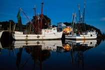 Shrimp boats at dock on St Helena Island South Carolina