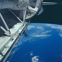 Shuttle payload bay with Cape Cod in the background Photo taken June   aboard STS-