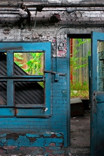 Side door in an abandoned chemical factory in Niagara Falls NY