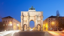 Siegestor is a triumphal arch in Munich commissioned by King Ludwig I of Bavaria designed by Friedrich von Grtner and completed by Eduard Mezger in  Its dimensions are  metres  ft high  metres  ft wide and  metres  ft deep Photo Thomas Wolf