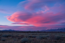 Sierra Wave over the Owens Valley at sunset Bishop California