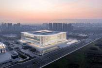 Silk Road International Conference Center by German firm Gerkan Marg and Partners The sweeping symmetrical shape of the roof the measured horizontal facade proportions and the column pattern are understood as references to traditional Chinese architecture