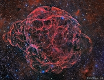 Simeis  or sharpless  or the Spaghetti Nebula is a  years old supernova remnant Its  light-years across and  light years away Credit Daniel Lopz IAC