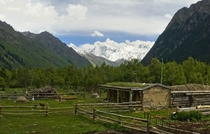 Simple livestock farming in mountainous terrain Xinjiang
