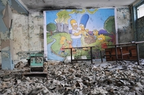 Simpsons mural at an abandoned building in Chernobyl
