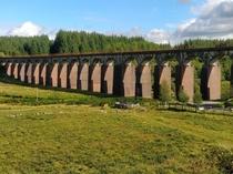 Since the last one went down well abandoned viaduct in Scotland further along the line Still with old ballast on the top Closed in