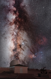 Since weather hasnt been astrophotography friendly I decided to practice merging two images into one Milky Way from  stacked image observatory  images stacked to reduce noise