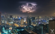 Singapore As surreal as it may look this is not a composite image The thunderstorm was very isolated thats why on the left and right there are no clouds writes photographer Daniel Cheong