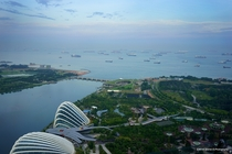 Singapores Gardens by the Bay Above the Port of Singapore  by Warren G Photography