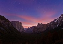 Single Exposure of Star Trails amp Dawn Over Tunnel View in Yosemite Ntl Park  seconds