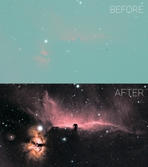 Single frame of the Horsehead nebula vs processed version This hobby is a lot of work but so rewarding