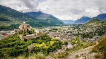 Sion is the capital of Valais Switzerland - view from the Chteau de Tourbillon