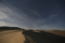 Sirius and Orion over the Eureka Sand Dunes Death Valley National Park California