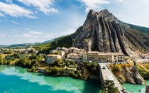 Sisteron on the turquoise waters of the Durance river in Alpes-de-Hautes-Provence France