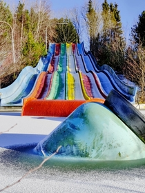 Six months ago someone posted a picture from Fun Park Fyn a Danish amusement park closed in  Here it is in winter