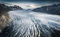 Skaftafellsjkull glacier one of the tongues of the Vatnajkull ice cap This is hundreds of meters long all the way till the clouds in the back Iceland  OC IG arvindj