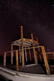 Skeletal remains of holidays past haunt this place The lack of light pollution at the Salton sea is something every photographerstargazer should experience OC x