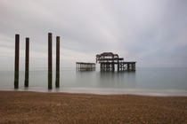 Skeleton of the Brighton West Pier which burned down in  - England  by Martyn Smith