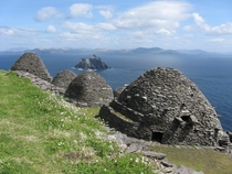 Skellig Michael islands Ireland Location of abandoned monastery and Star Wars movies Image of drystone hives Link in comments