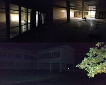 Sketchy abandoned school with some lights still working