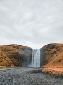 Skogafoss on a chilly overcast day