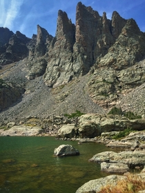 Sky Pond and the appropriately named Cathedral Spires in Rocky Mountain National Park Colorado USA