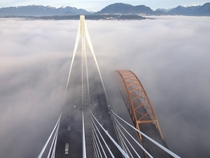 Sky view of the new Port Mann Bridge beside the old Port Mann Bridge Coquitlam BC Canada