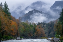 Skykomish WA as fog and snow roll in  x
