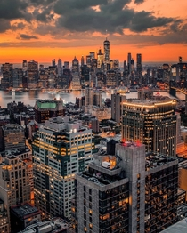 Skyline of Downtown New York at sunset