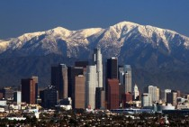 Skyline of Los Angeles with Gabriel Mountains