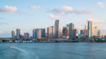 Skyline of Miami Florida from Biscayne Bay