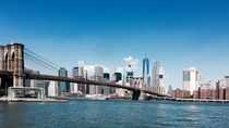 Skyline of New York viewed from Brooklyn Bridge Park USA