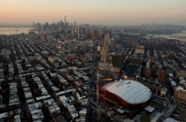 Skylines of Manhattan Brooklyn and Jersey City USA