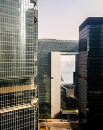 Skyscrapers built with fengshui holes in Hong Kong to allow for dragons to fly from the mountains to the sea