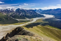 Slims River from Tachal Dhal Ridge Kluane NP Yukon