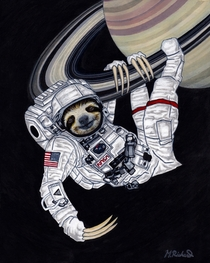 Sloth Astronaut and Saturn a pen and ink drawing I made