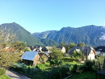 Slovenia is a beautiful country This was the view from my rocking chair Bovec Slovenia