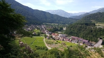 Small Village with mountains in Japan  Shirakawa-go
