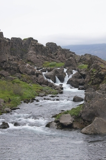Small waterfall in Thingvellir Iceland