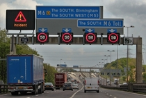 Smart Motorway in the UK with active traffic management to cause smoother traffic flow and fewer collisions