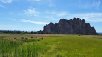 Smith Rock in Oregon with the Three Sisters in the distance