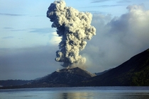 Smoke and ash fills the air as Mount Tavurvur erupts in Rabaul eastern Papua New Guinea