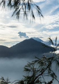 Smoke emerging from Mt Agung Bali  - adrianserwin