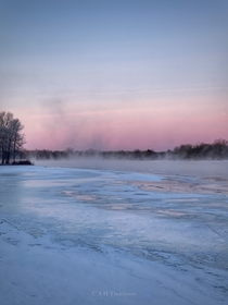 Smoke on the water occurs when the air is significantly colder than the water am amp -C on the Mississippi River in Ontario Canada  OC
